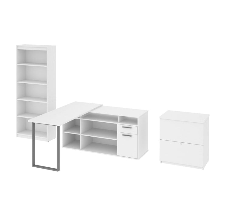 Modubox Desk White Solay 3-Piece Set Including an L-Shaped Desk, a Lateral File Cabinet, and a Bookcase - Available in 3 Colours