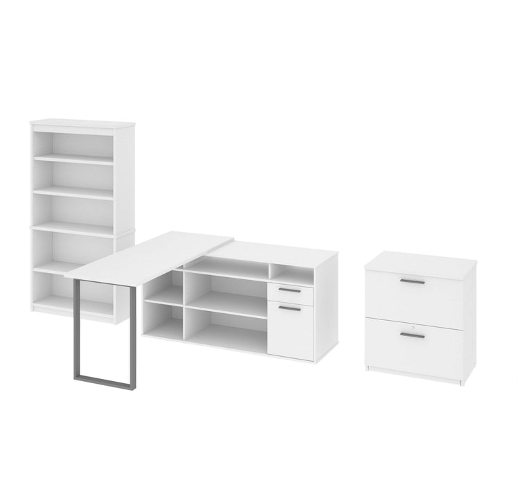 Modubox Desk White Solay Contemporary 3-Piece Set Including an L-Shaped Desk, a Lateral File Cabinet and a Bookcase - Available in 2 Colors