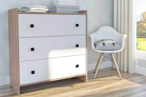 Modubox Dresser Rustic Brown & White Sirah 3 Drawer Dresser - Available in 2 Colours