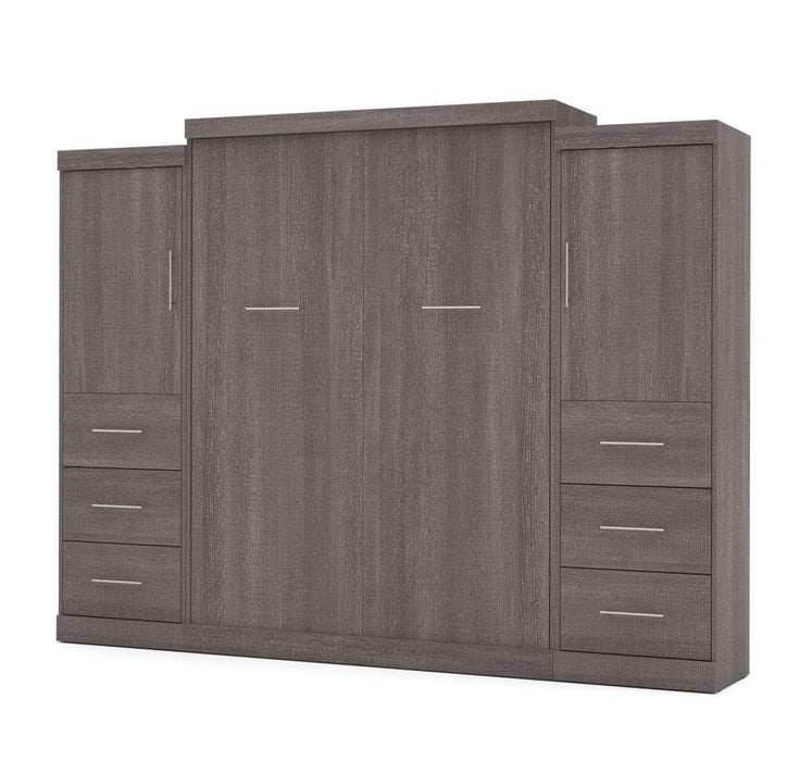"Modubox Murphy Wall Bed Bark Grey Nebula 115"" Set including a Queen Wall Bed and Two Storage Units with Drawers - Available in 4 Colors"