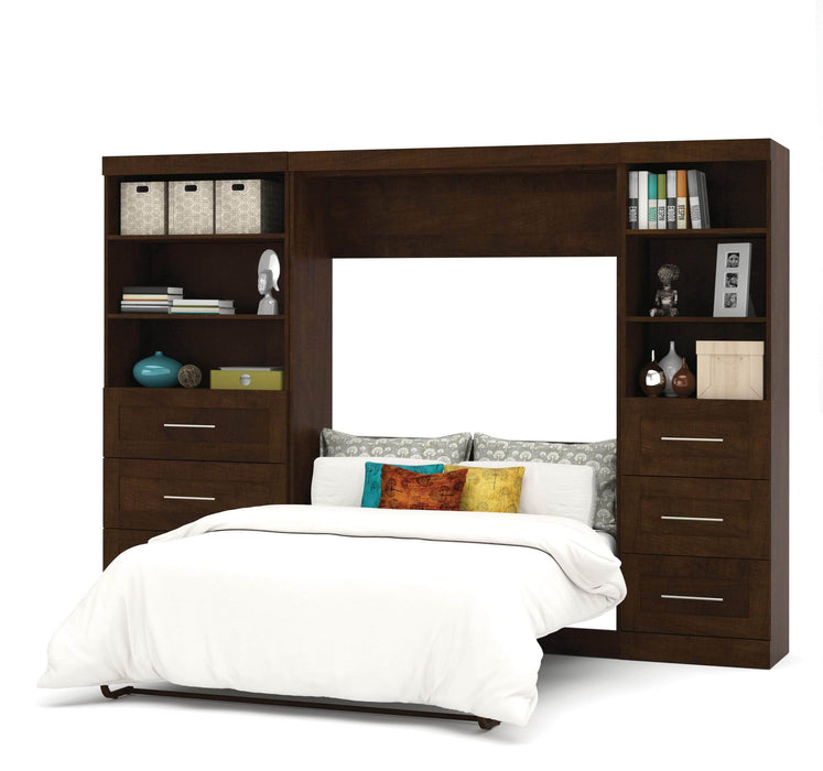 "Modubox Murphy Wall Bed Chocolate Pur Full Murphy Wall Bed and 2 Storage Units with Drawers (120"") - Available in 2 Colors"