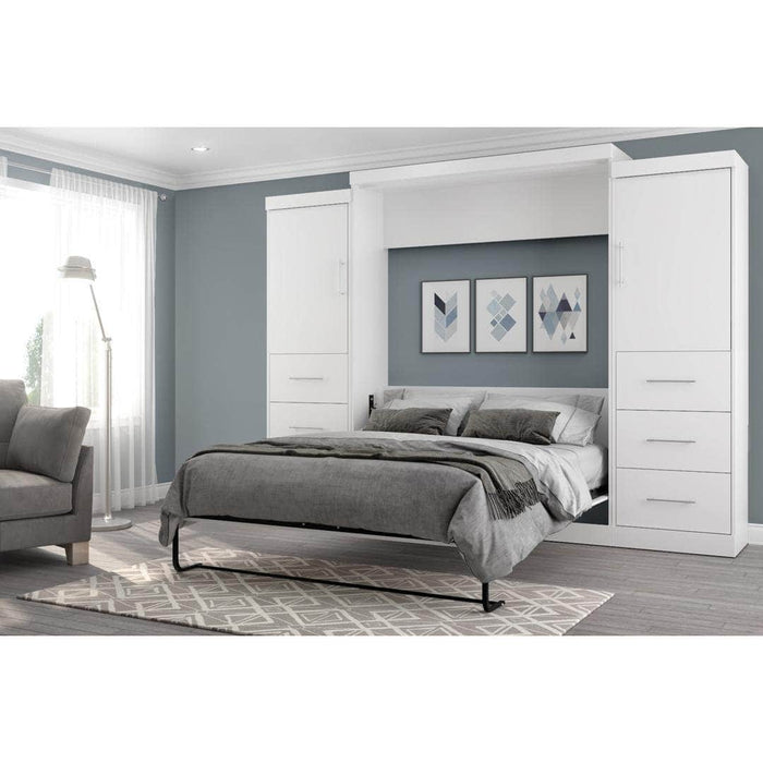 "Modubox Murphy Wall Bed Nebula 115"" Set including a Queen Wall Bed and Two Storage Units with Drawers - Available in 4 Colors"