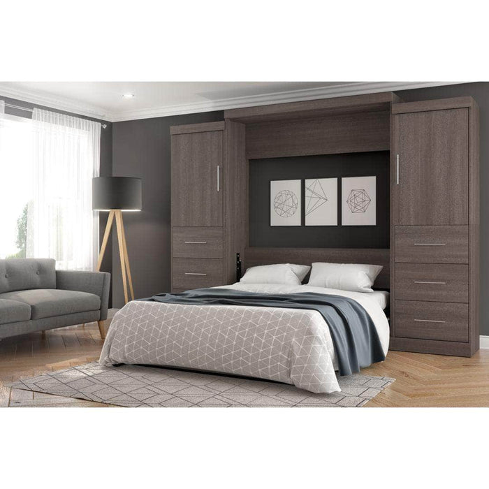 "Modubox Murphy Wall Bed Nebula 115"" Set including a Queen Wall Bed and Two Storage Units with Drawers - Bark Grey & White"