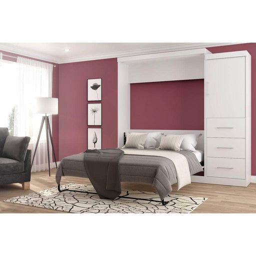 "Modubox Murphy Wall Bed Nebula 90"" Set including a Queen Wall Bed and One Storage Unit with Drawers - Available in 4 Colors"