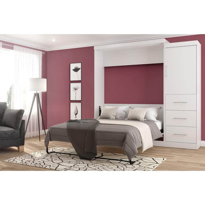 "Modubox Murphy Wall Bed Nebula 90"" Set including a Queen Wall Bed and One Storage Unit with Drawers - Available in 4 Colours"