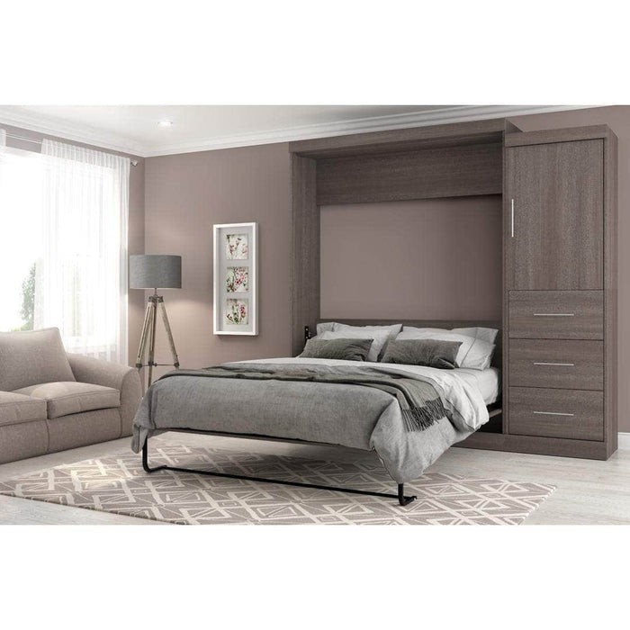 "Modubox Murphy Wall Bed Nebula 90"" Set including a Queen Wall Bed and One Storage Unit with Drawers - Bark Grey & White"