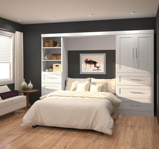 "Modubox Murphy Wall Bed Pur Full Murphy Wall Bed and 2 Storage Units with Drawers (120"") - Available in 2 Colours"