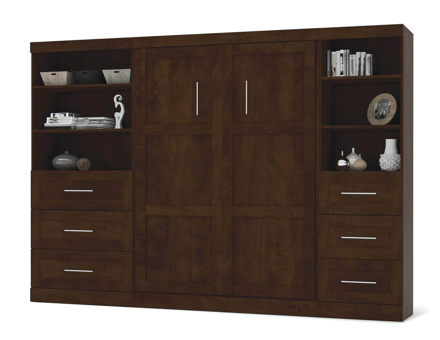 "Modubox Murphy Wall Bed Pur Full Murphy Wall Bed and 2 Storage Units with Drawers (120"") - Available in 2 Colors"