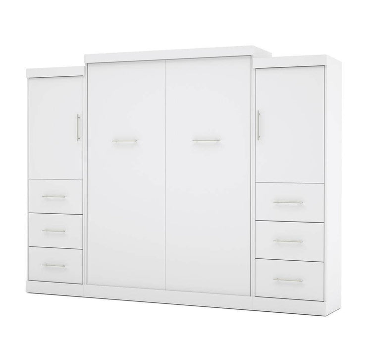 "Modubox Murphy Wall Bed White Nebula 115"" Set including a Queen Wall Bed and Two Storage Units with Drawers - Available in 4 Colors"