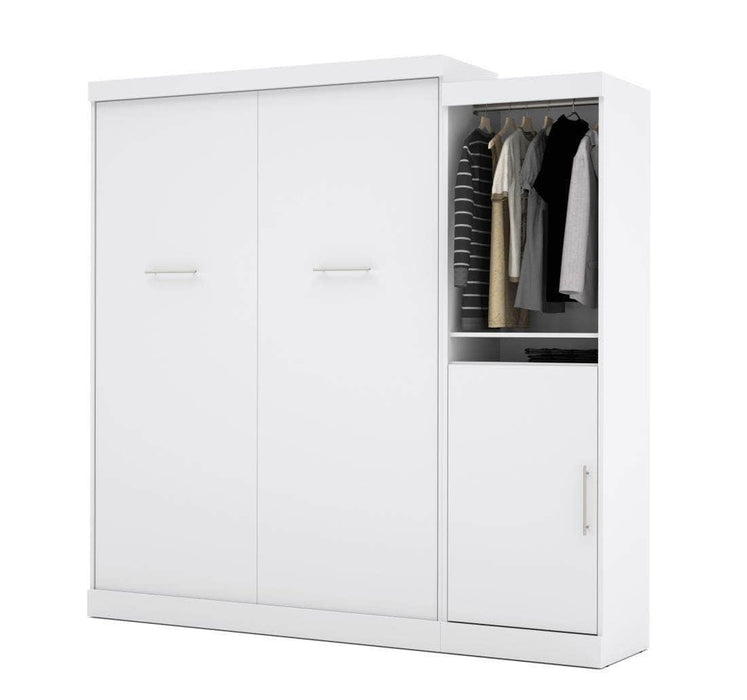 "Modubox Murphy Wall Bed White Nebula 90"" Set including a Queen Wall Bed and One Storage Unit - Available in 4 Colours"