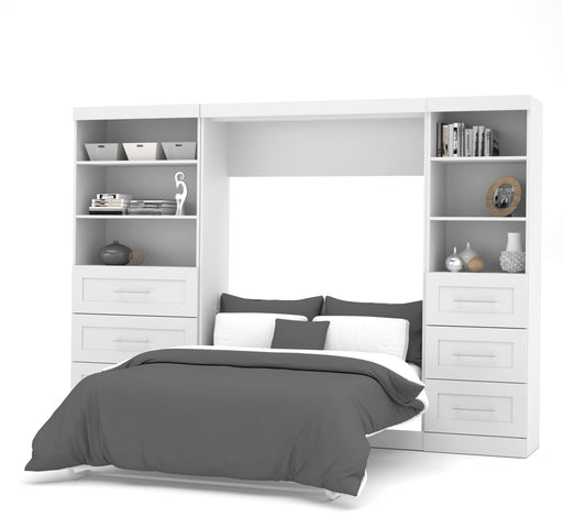 "Modubox Murphy Wall Bed White Pur Full Murphy Wall Bed and 2 Storage Units with Drawers (120"") - Available in 2 Colours"