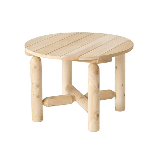 Modubox Patio Coffee Table Natural Cedar Outdoor Cedar White Cedar Round Coffee Table - Natural Cedar