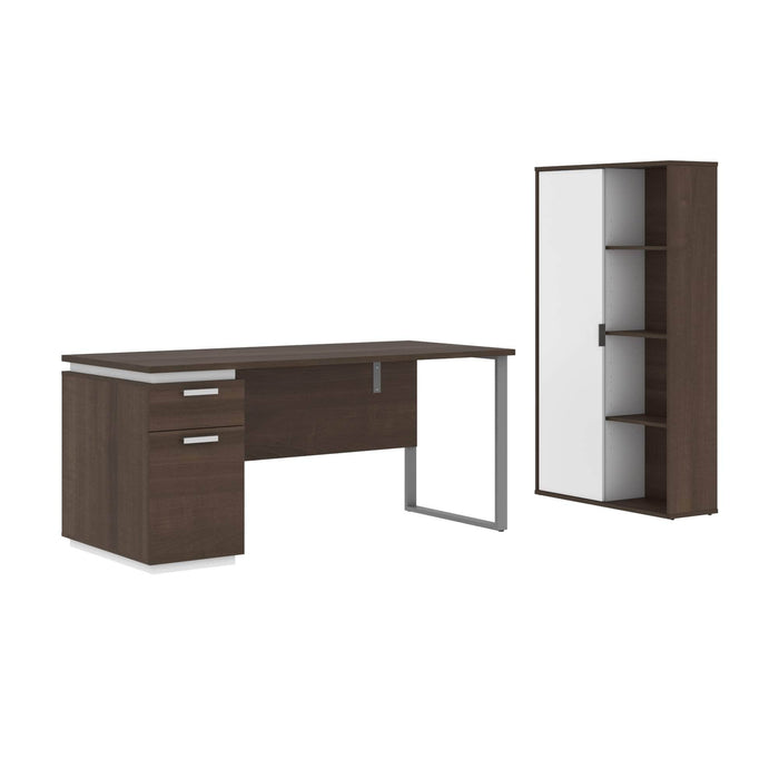 Pending - Bestar Accessories Antigua & White Aquarius 2-Piece Set Including a Desk with Single Pedestal and a Storage Unit with 8 Cubbies - Available in 4 Colours