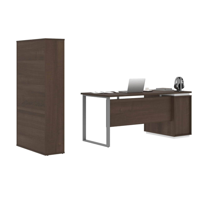 Pending - Bestar Accessories Aquarius 2-Piece Set Including a Desk with Single Pedestal and a Storage Unit with 8 Cubbies - Available in 4 Colours