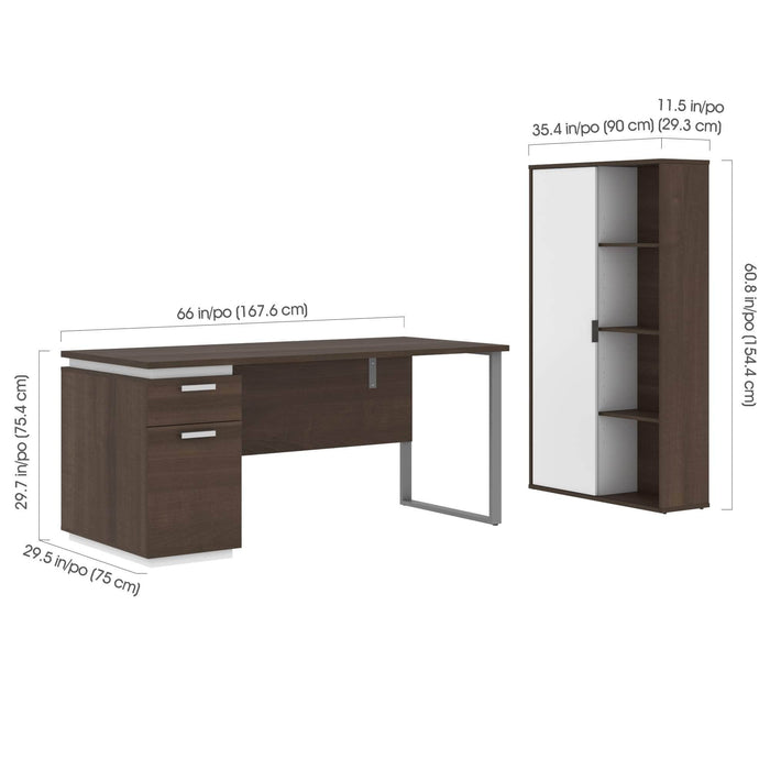 Pending - Bestar Accessories Aquarius 2-Piece Set Including a Desk with Single Pedestal and a Storage Unit with 8 Cubbies - Available in 4 Colors