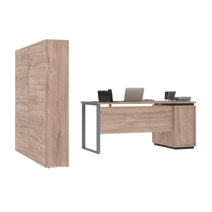Modubox Aquarius 3-Piece Set Including a Desk with Single Pedestal and Two Storage Units with 8 Cubbies - Rustic Brown & Graphite