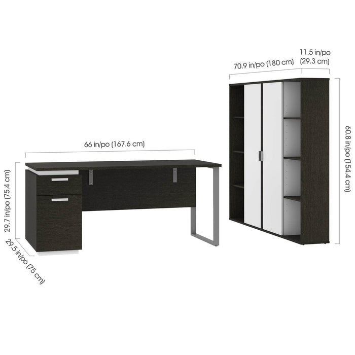 Pending - Bestar Accessories Aquarius 3-Piece Set Including a Desk with Single Pedestal and 2 Storage Units with 8 Cubbies - Available in 4 Colors