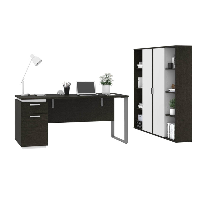 Pending - Bestar Accessories Aquarius 3-Piece Set Including a Desk with Single Pedestal and 2 Storage Units with 8 Cubbies - Available in 4 Colours