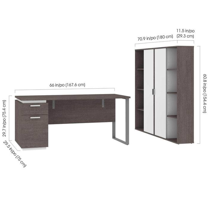 Pending - Bestar Accessories Aquarius 3-Piece Set Including a Desk with Single Pedestal and Two Storage Units with 8 Cubbies - Available in 4 Colors