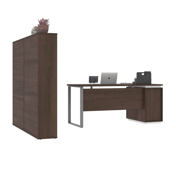 Pending - Bestar Accessories Aquarius 3-Piece Set Including a Desk with Single Pedestal and Two Storage Units with 8 Cubbies - Available in 4 Colours