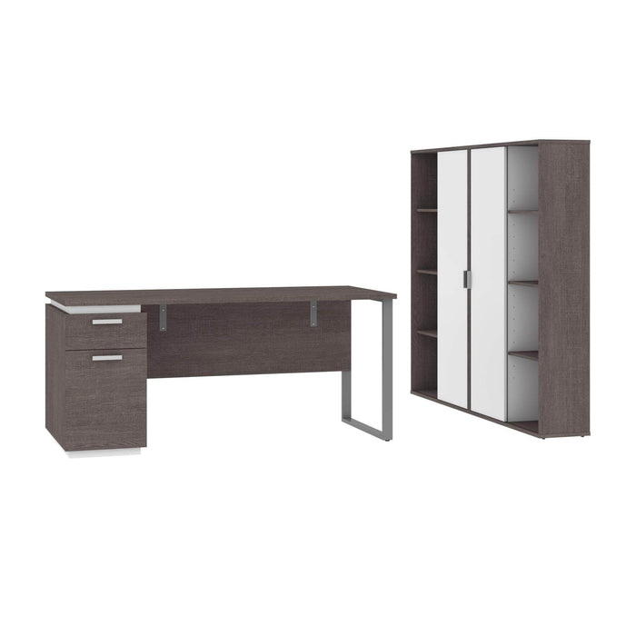 Pending - Bestar Accessories Bark Grey & White Aquarius 3-Piece Set Including a Desk with Single Pedestal and 2 Storage Units with 8 Cubbies - Available in 4 Colours