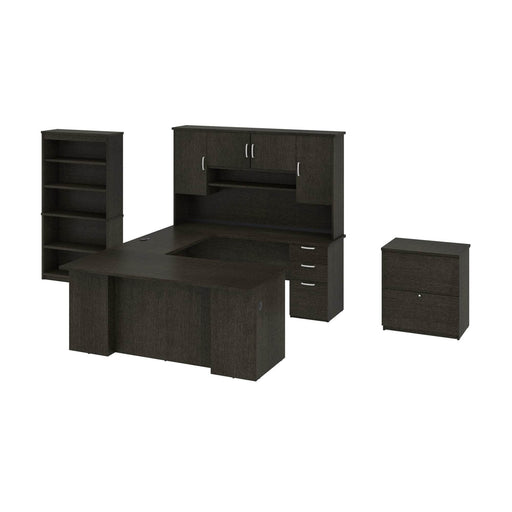 Pending - Bestar Accessories Deep Grey Murzim Executive Computer Desk with Hutch, 1 Lateral File Cabinet, and 1 Bookcase - Available in 2 Colours