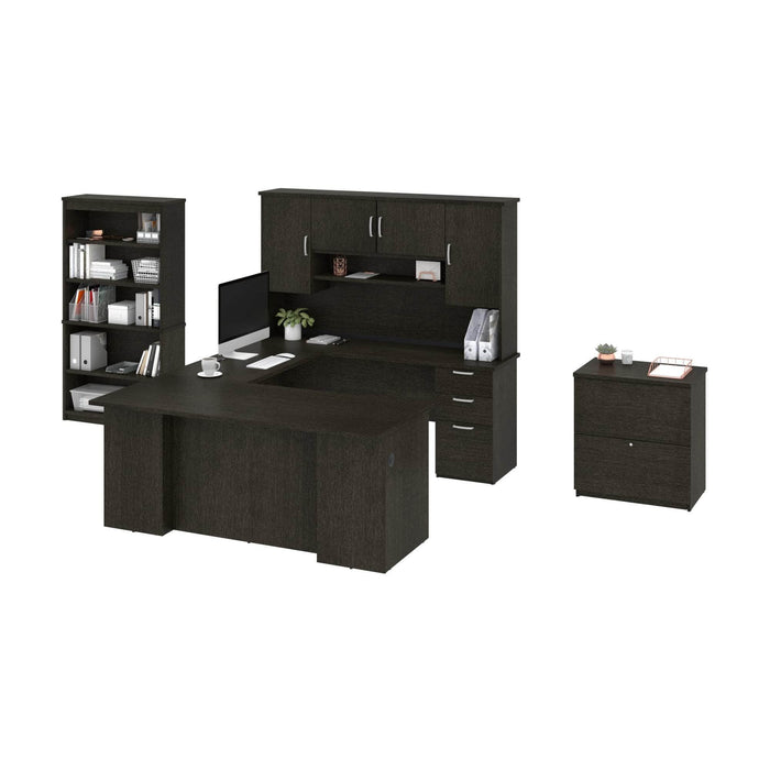 Pending - Bestar Accessories Murzim Executive Computer Desk with Hutch, 1 Lateral File Cabinet, and 1 Bookcase - Available in 2 Colours
