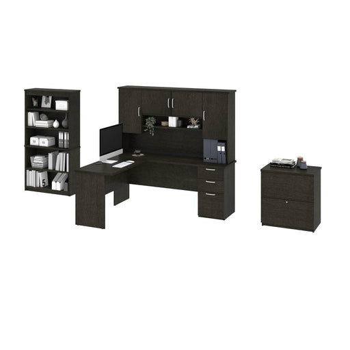 Pending - Bestar Accessories Murzim L-Shaped Desk with Hutch, 1 Lateral File Cabinet, and 1 Bookcase - Available in 2 Colours