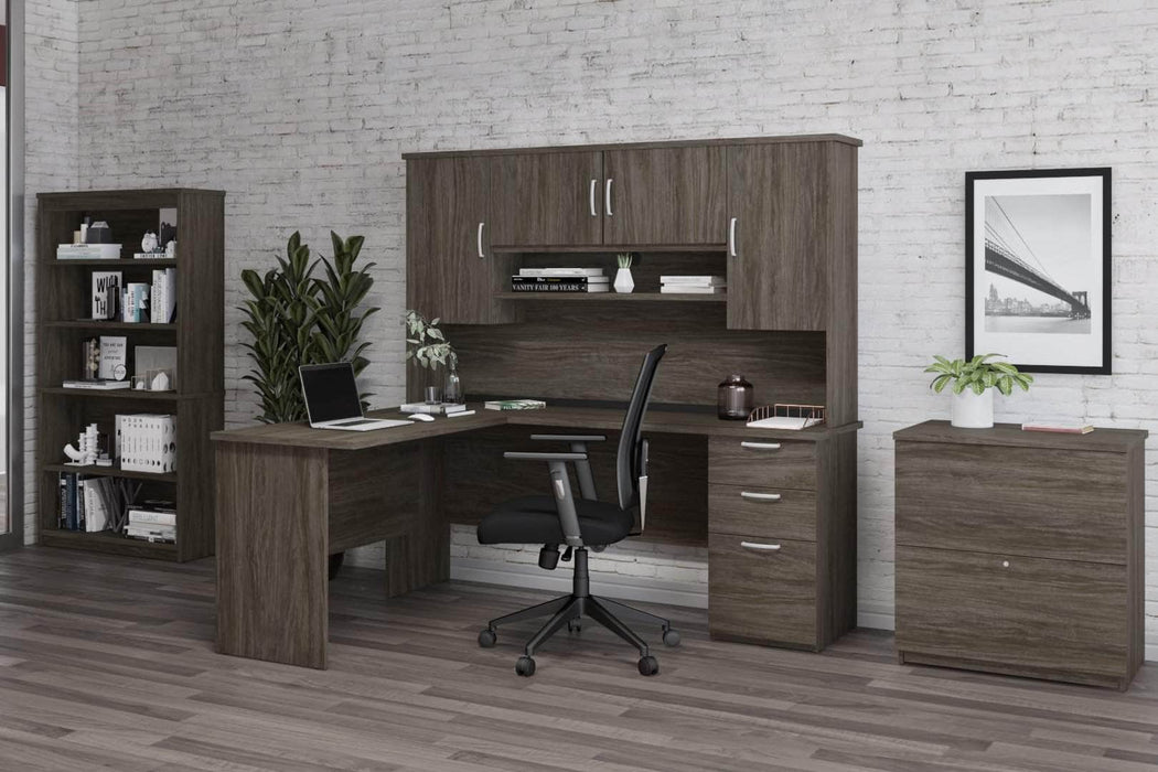 Pending - Bestar Accessories Murzim L-Shaped Desk with Hutch, 1 Lateral File Cabinet, and 1 Bookcase - Available in 2 Colors
