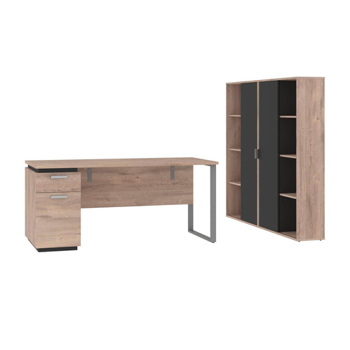 Pending - Bestar Accessories Rustic Brown & Graphite Aquarius 3-Piece Set Including a Desk with Single Pedestal and 2 Storage Units with 8 Cubbies - Available in 4 Colours