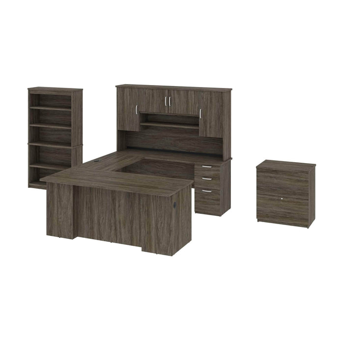 Pending - Bestar Accessories Walnut Grey Murzim Executive Computer Desk with Hutch, 1 Lateral File Cabinet, and 1 Bookcase - Available in 2 Colors