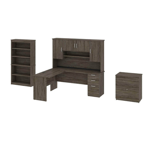 Pending - Bestar Accessories Walnut Grey Murzim L-Shaped Desk with Hutch, 1 Lateral File Cabinet, and 1 Bookcase - Available in 2 Colours