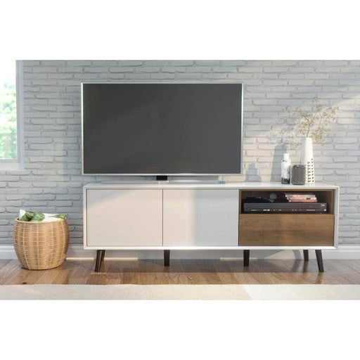 Alga TV Stand - White & Walnut Brown