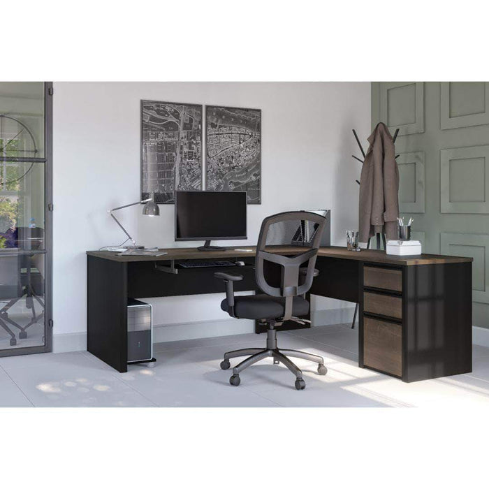 Pending - Bestar Antigua & Black Connexion L-Shaped Desk with Pedestal - Available in 3 Colours