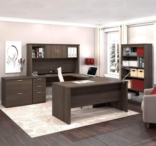 Pending - Bestar Antigua Logan U-Shaped Desk with Hutch, Lateral File Cabinet, and Bookcase - Available in 3 Colours