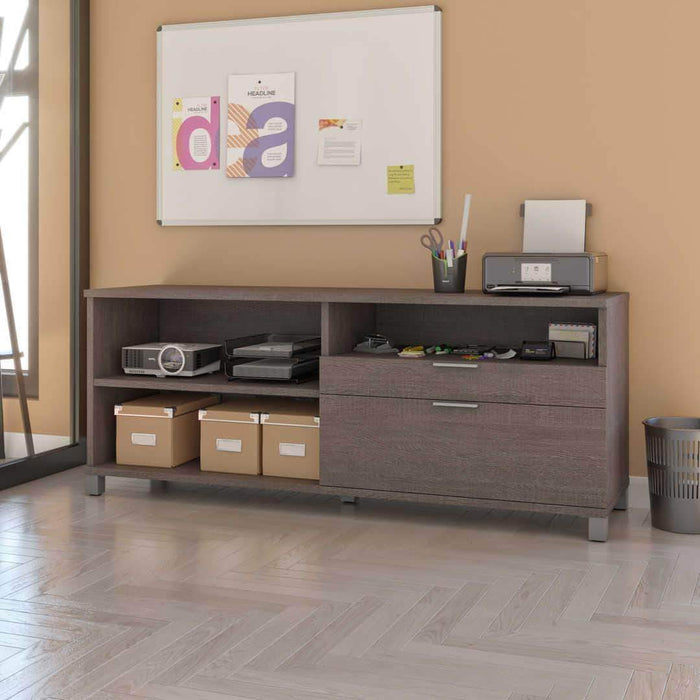 Pending - Bestar Bark Grey Credenza with 2 Drawers - Available in 5 Colors