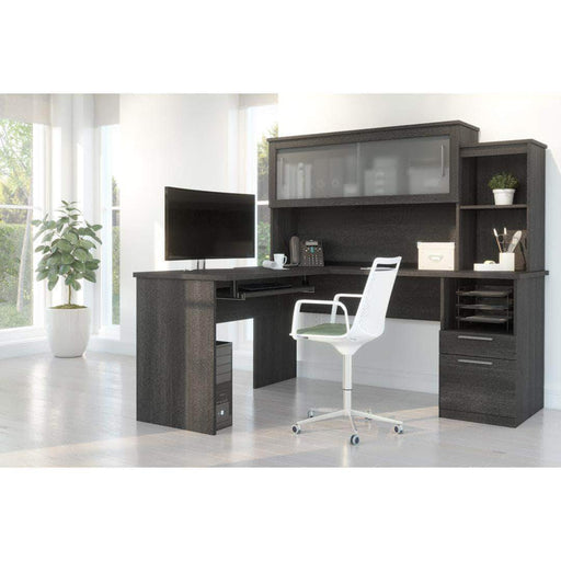 Pending - Bestar Bark Grey Dayton L-Shaped Desk with Pedestal and Hutch - Available in 2 Colors
