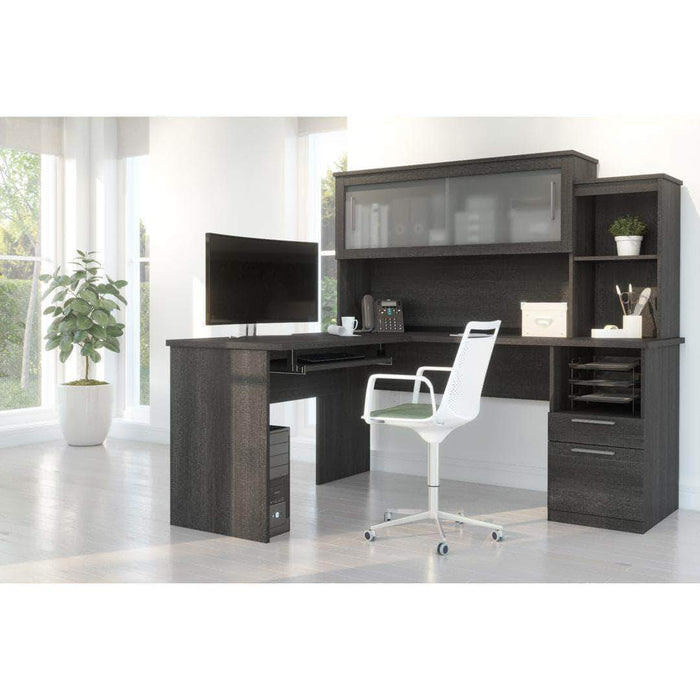 Pending - Bestar Bark Grey Dayton L-Shaped Desk with Pedestal and Hutch - Available in 2 Colours