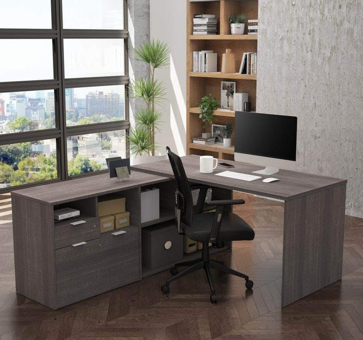 Pending - Bestar Bark Grey i3 Plus L-Shaped Desk - Available in 4 Colors