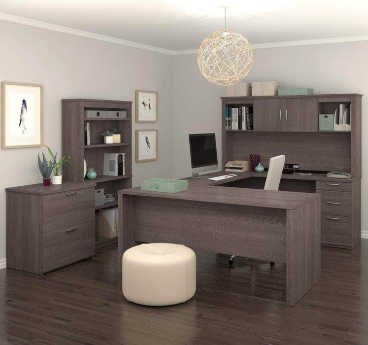 Pending - Bestar Bark Grey Logan U-Shaped Desk with Hutch, Lateral File Cabinet, and Bookcase - Available in 3 Colors