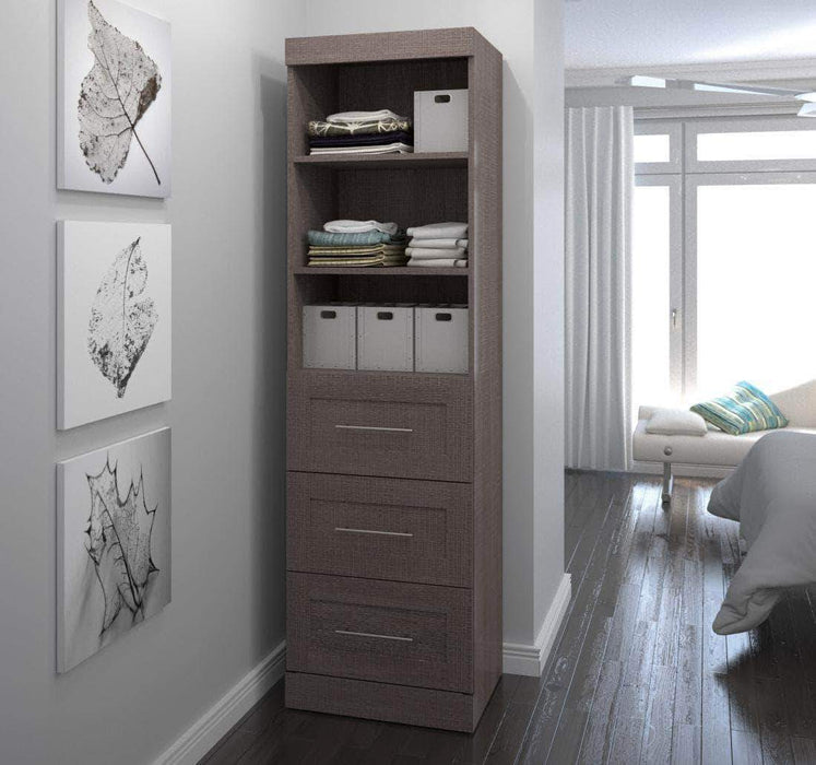 "Pending - Bestar Bark Grey Pur 25"" Storage Unit with 3 Drawers - Available in 3 Colors"