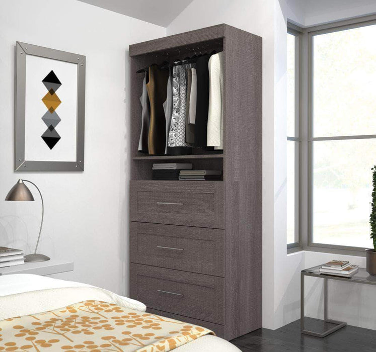 "Pending - Bestar Bark Grey Pur 36"" Storage Unit with 3 Drawers - Available in 3 Colours"