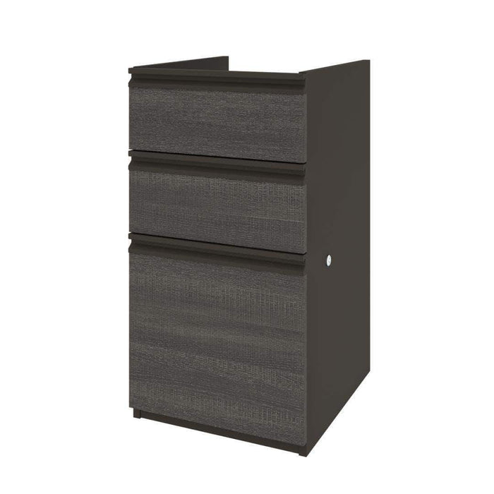 Pending - Bestar Bark Grey & Slate Prestige+ Add-On Pedestal - Available in 5 Colors