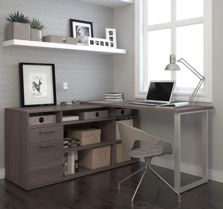Pending - Bestar Bark Grey Solay L-Shaped Desk - Available in 4 Colors