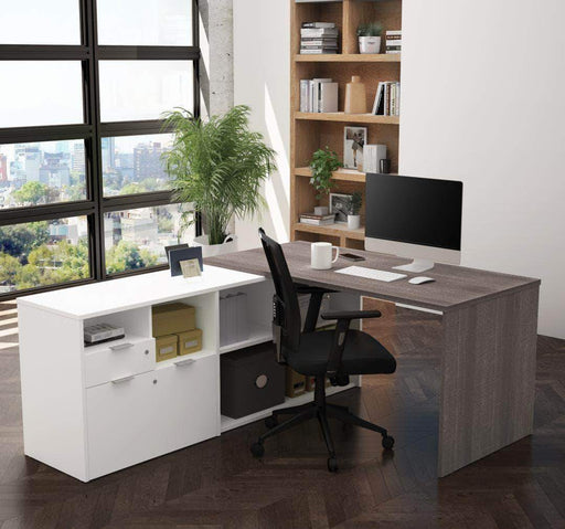 Pending - Bestar Bark Grey & White i3 Plus L-Shaped Desk - Available in 4 Colours