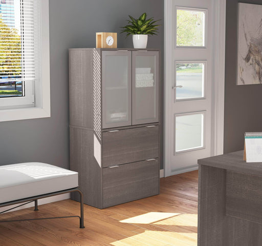 i3 Plus Lateral File Cabinet with Frosted Glass Doors Hutch - Bark Grey