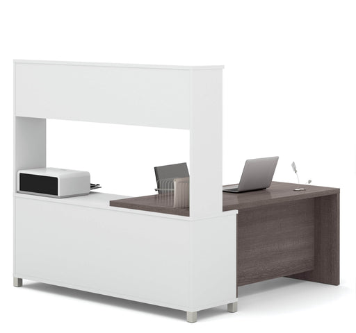 Pro-Linea L-Shaped Desk with Hutch - Bark Grey & White