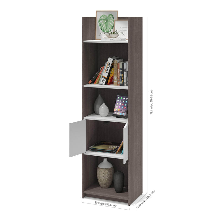 "Pending - Bestar Bookcase Bark Grey & White Small Space 20"" Shelving unit - Available in 2 Colors"