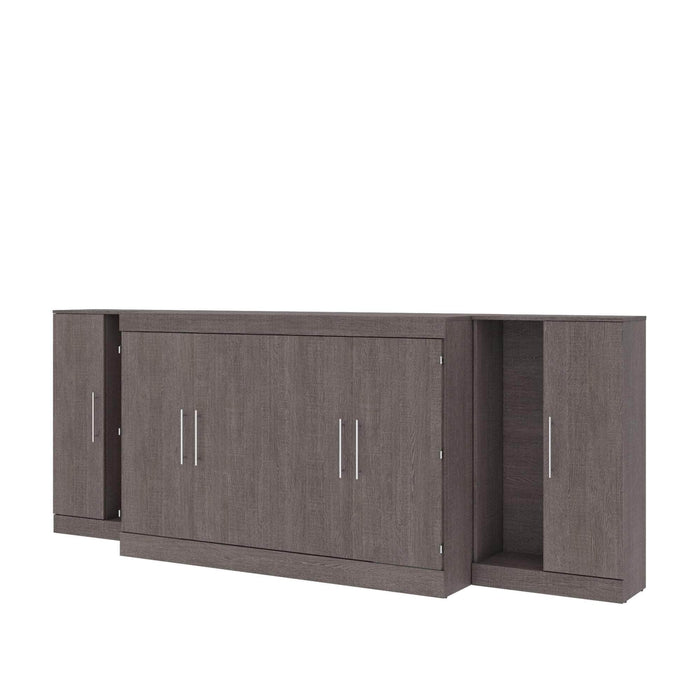 Pending - Bestar Cabinet Bed Bark Grey Nebula 3-Piece Set Including One Queen Cabinet Bed with Mattress and Two 26″ Storage Units - Available in 2 Colors