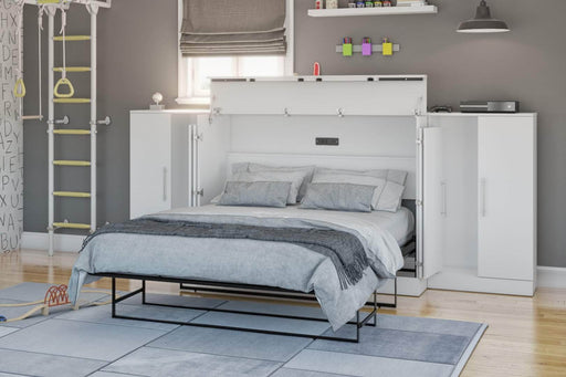Pending - Bestar Cabinet Bed Nebula 3-Piece Set Including One Full Cabinet Bed with Mattress and Two 26″ Storages Unit for Cabinet Beds - Available in 2 Colors